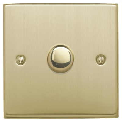 Contactum 400W 1 Gang 1 Way Dimmer Switch - Brushed Brass