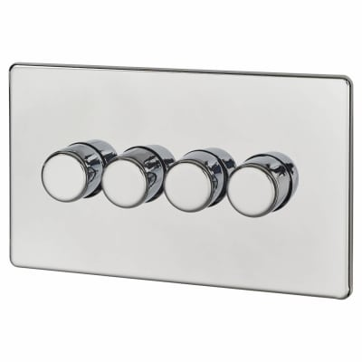 BG Screwless Flatplate 400W 4 Gang 2 Way Dimmer Switch - Polished Chrome