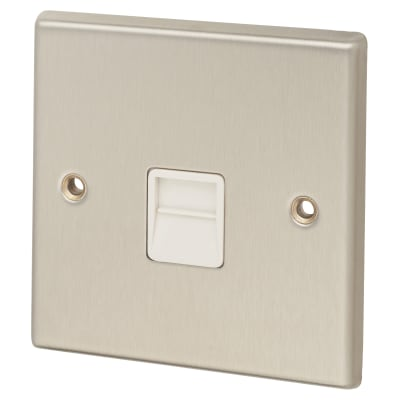 Contactum Telephone Master Socket - Brushed Steel with White Inserts