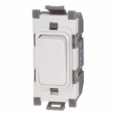 Deta 10A 1 Way Single Pole Grid Switch - White