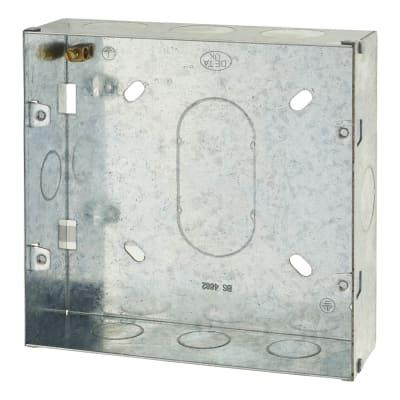 6-8 Gang Flush Grid Back Box - 43mm - Galvanised Metal