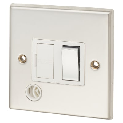 Contactum 13A DP Switched with Flex Outlet - Polished Steel with White Inserts