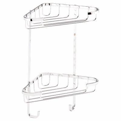 Croydex Wirework Shower Small Corner Basket - Two Tier - Stainless Steel