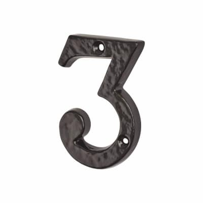 Colonial 76mm Numeral - 3 - Metalized Antique Black Iron