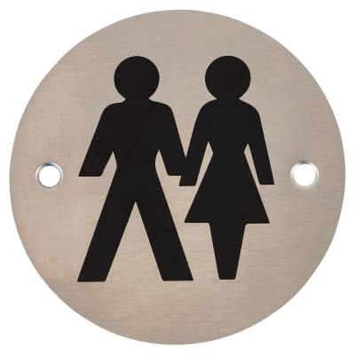 Unisex Toilet Door Sign 75mm Satin Stainless Steel Ironmongerydirect