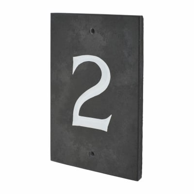 Slate Numeral - 2 - Polished Black