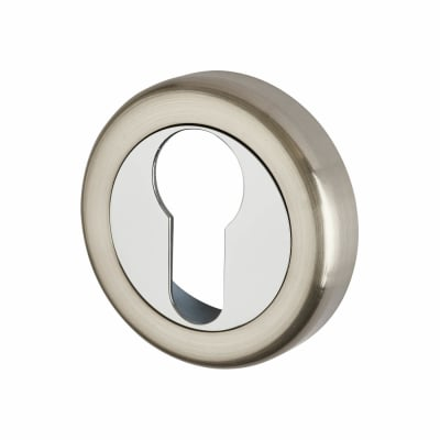 Morello Escutcheon - Euro - Satin Nickel/Polished Chrome