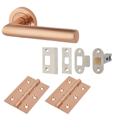 Emily Lever Door Handle on Rose - Door Kit - Polished Copper