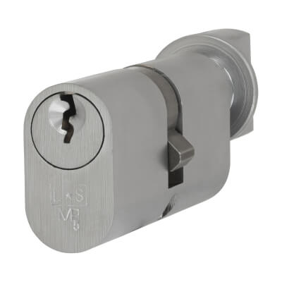 Eurospec MP5 - Oval Cylinder and Turn - 35[k] + 35mm - Satin Chrome  - Keyed to Differ