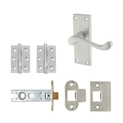 Aglio Victorian Scroll Handle Door Kit - Short Latch Set - Satin Chrome