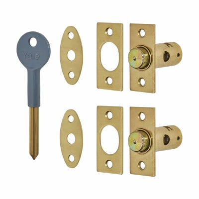 Yale® 8001 Wooden Window Bolt - Pack of 2 with 1 Key - Brass