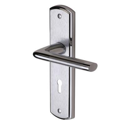 M Marcus Lena Door Handle - Keyhole Lock Set - Satin/Polished Chrome