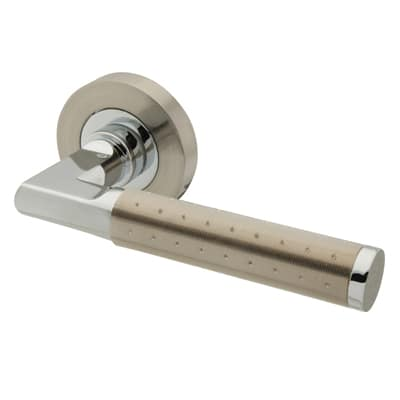 Excel Delta Lever Door Handle on Rose - Satin Nickel/Polished Chrome