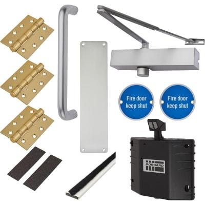 Medium Duty Pull Handle Fire Door Kit with Hold Open Device - Aluminium