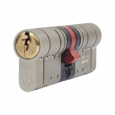 ERA 3 Star Fortress Cylinder - Euro Double - Length 80mm - 35 + 45mm - Nickel/Brass