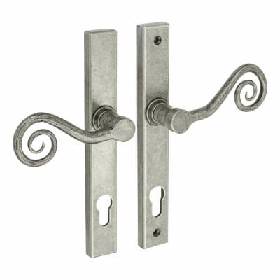 Olde Forge Monkey tail Multipoint Lock Lever- Left Hand - 92mm centres - Pewter