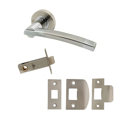 Excel Corina Lever Door Handle on Rose - Privacy Set - Satin Nickel/Polished Chrome