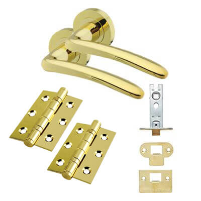 Touchpoint Eloise Lever Door Handle on Rose Kit - Latch - Polished Brass