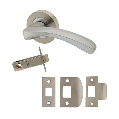 Excel Ventura Lever Door Handle on Rose - Privacy Set - Satin Nickel/Polished Chrome
