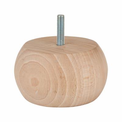 Wooden Furniture Leg - 90 x 50mm - Raw Beech