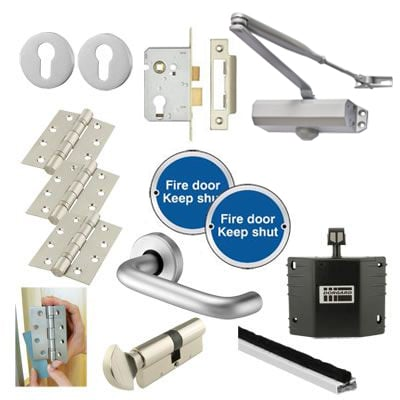 Light Duty Lever Door Handle on Rose Fire Door Kit - Hold Open - Euro Sashlock - Aluminium
