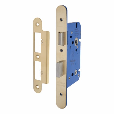 A-Spec Architectural DIN Bathroom Lock - 85mm Case - 60mm Backset - Radius - PVD Brass