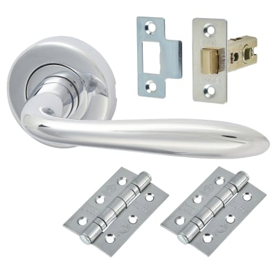 M Marcus Sutton Lever Door Handle on Rose - Door Kit - Polished Chrome