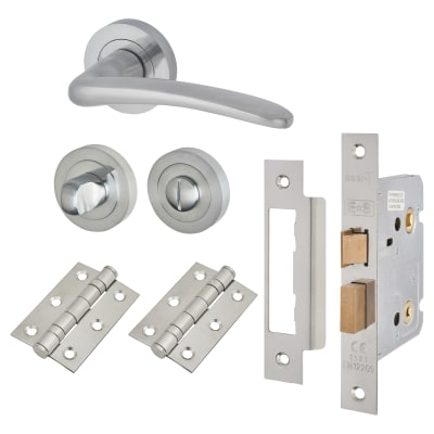 Touchpoint Eloise Lever Door Handle - Bathroom Lock Kit - Satin Chrome