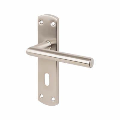 Steelworx CSL Mitred Door Handle - Lock Set - Satin Stainless Steel