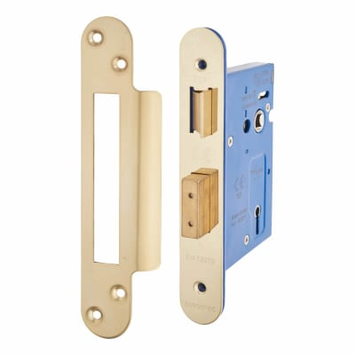 A-Spec Architectural 3 Lever Sashlock - 78mm Case - 57mm Backset - Radius - PVD Brass
