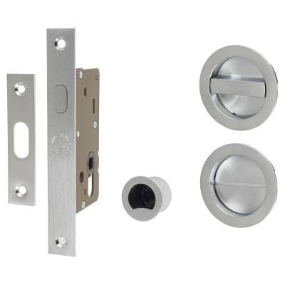 M Marcus Round Flush Privacy Handle Set with Lock - Satin Chrome