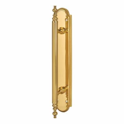 Carlisle Brass Chesham Entrance Pull Handle on Finger Plate - 300 x 55mm - Polished Brass
