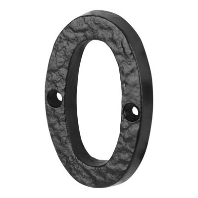 Elden 76mm Numeral - 0 - Antique Black Iron