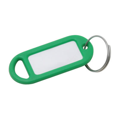 Key Ring Tag - 48 x 21mm - Green - Pack 10