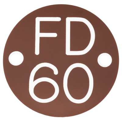 FD60 Door Sign Drilled - 50mm - Brown