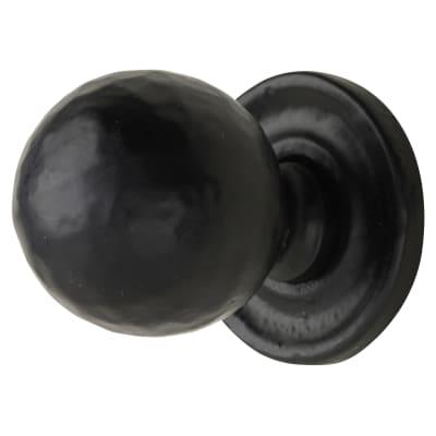 Cabinet Knob - 32mm on 37mm Plate - Antique Black Iron