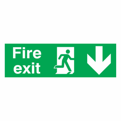 Fire Exit Down - 150 x 450mm - Rigid Plastic