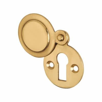 Victorian Covered Escutcheon - Keyhole - Polished Brass