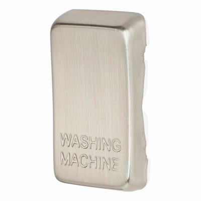 BG Printed Grid Switch Rocker - Washing Machine - Brushed Steel