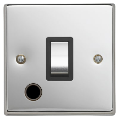 Contactum 20A 1 Gang DP Switch with Flex Outlet - Polished Steel with Black Inserts