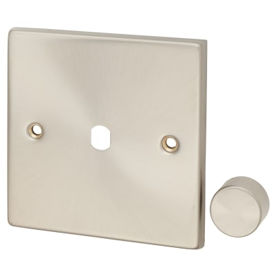 Click Scolmore Deco 1 Gang Dimmer Plate and Knob - Satin Chrome
