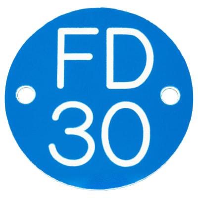 FD30 Door Sign Drilled - 50mm - Blue