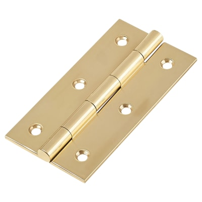 Solid Drawn Hinge - 75 x 40 x 2.0mm - Polished Brass - Pair