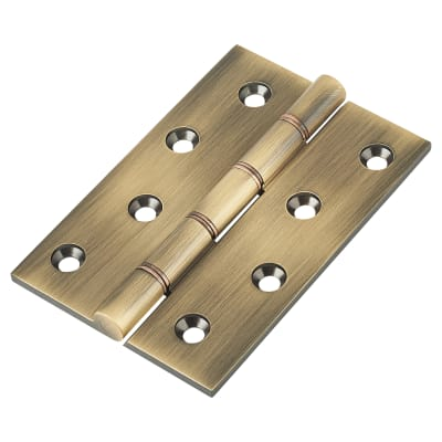 Double Phosphor Bronze Washered Hinge - 100 x 67 x 4mm - Antique Brass - Pair