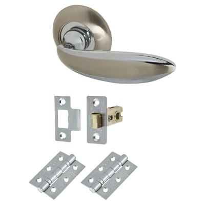 Elan Cortona Lever Door Handle on Rose - Door Kit - Satin Nickel/Polished Chrome