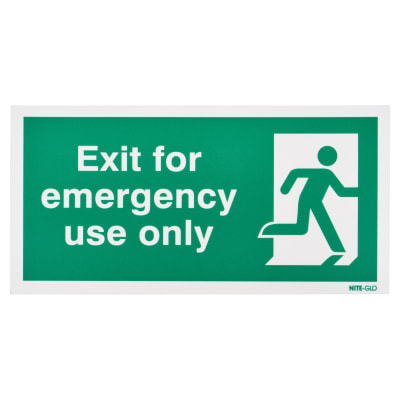 Nite Glo Exit for Emergency Use Only - 150 x 300mm