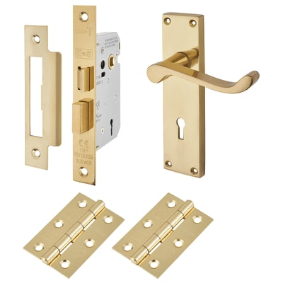 Touchpoint Budget Scroll Door Handle Kit - Keyhole Lock Set - Polished Brass