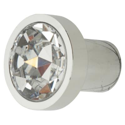 Aglio Flat Crystal Glass Cabinet Knob - 28mm - Polished Chrome