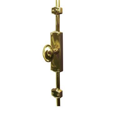 French Style Oval Knob Locking Espagnolette Bolt - Polished Brass