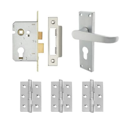 Aglio Victorian Handle Door Kit - Euro Lock Set - Satin Chrome